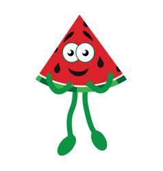 happy cartoon watermelon vector image