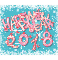 Happy new 2018 year gift card with hand lettering vector