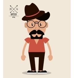 Man cartoon icon Hipster style design vector image