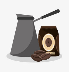 Metallic coffee maker with bag of coffee and beans vector