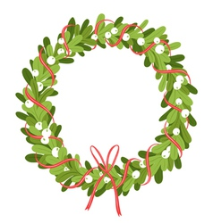 Mistletoe wreath isolated on white vector image