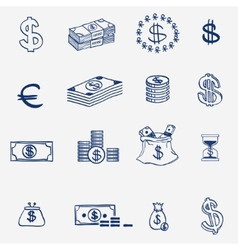 Money icons set doodle sketch hand draw Finanse vector image vector image