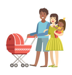 Parents walking with baby in a stroller and and vector