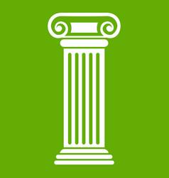 Roman column icon green vector
