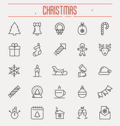 set of new year and christmas thin line icons vector image vector image