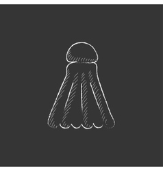 Shuttlecock Drawn in chalk icon vector image vector image