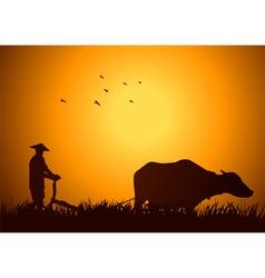 Traditional farmer vector