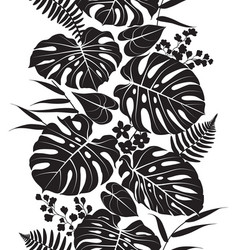 tropical leaves silhouette pattern vector image vector image