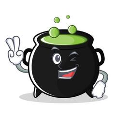 Two finger magic cauldron character cartoon vector