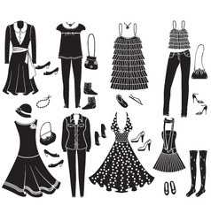 vector fashion clothes and accessories for weman f vector image vector image