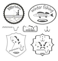 Winter fishing vector