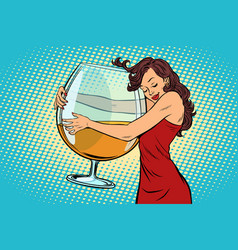 woman hugging a glass of wine vector image