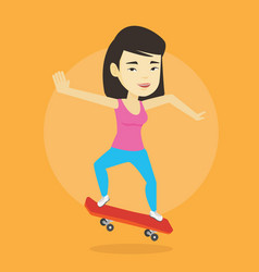 woman riding skateboard vector image
