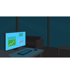 Working place late at night vector image