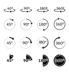Angles 45 90 180 and 360 degrees icons vector