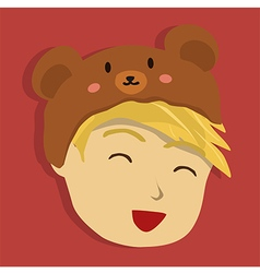 Man with Brown Bear Hat vector image