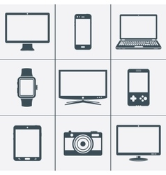 Modern digital devices icons set vector