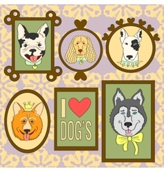 Cute dogs set bulldog corgi cocker spaniel vector