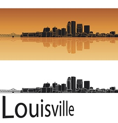 Louisville skyline in orange background vector