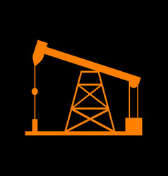 Oil drilling rig sign orange icon on black vector