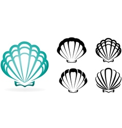 Shell collection - silhouette vector image