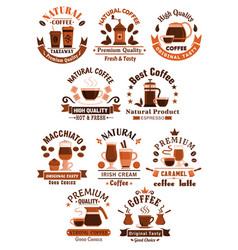coffee icons for cafeteria or cafe vector image