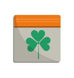 st patricks day calendar clover icon vector image