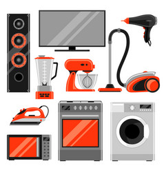 Set of home appliances household items for sale vector
