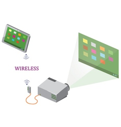 Wireless tablet and projector vector