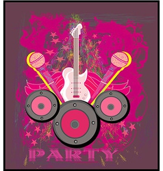 Microphone guitar and wing motif in pink abstract vector