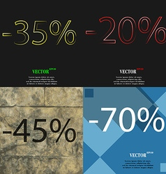 20 45 70 icon set of percent discount on abstract vector