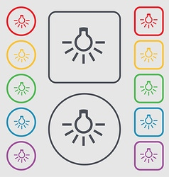 Light bulb icon sign symbol on the round and vector
