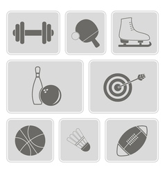 Monochrome set with sport icons vector