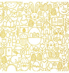 Thin line gold happy easter seamless pattern vector