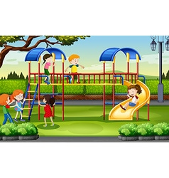 Boys and girls playing at the playground vector