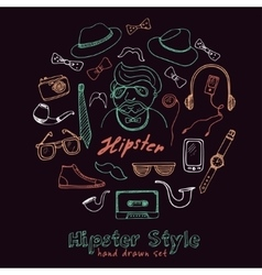 Set of hipster style symbols sketches vector