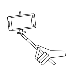 Phone in selfie stick icon outline style vector