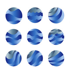 abstract isolated blue color ocean waves and sky vector image vector image