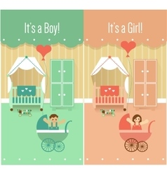 Baby boy girl shower invitation cards designs vector