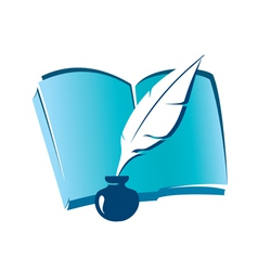 Book and feather vector