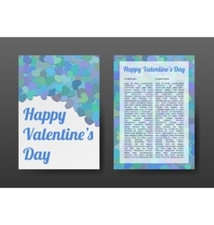 Brochure Happy Valentines Day with Blue Hearts vector image