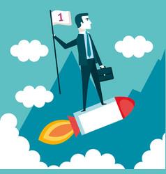 Business man on a rocket with flag cloud landscape vector