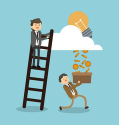Businessman climbins stairs for successful vector