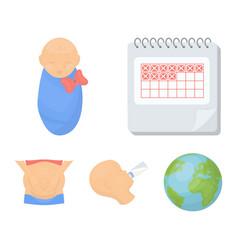 Calendar newborn stomach massage artificial vector