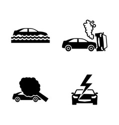 car crashes simple related icons vector image