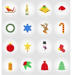 christmas and new year flat icons 17 vector image vector image