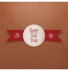 Christmas or new year label and red ribbon vector