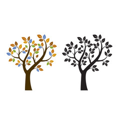 color and black tree vector image
