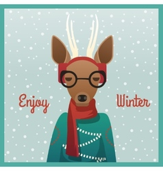 Cute girl roe deer with winter background vector image
