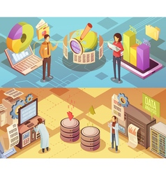 Data Analysis Isometric Banners vector image vector image